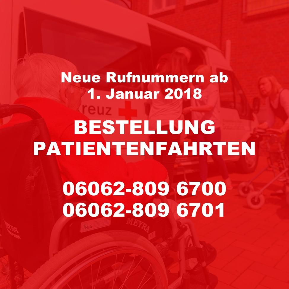 Neue Rufnummer Bestellung Patientenfahrten ab 1.1.2018: 06062 8096700