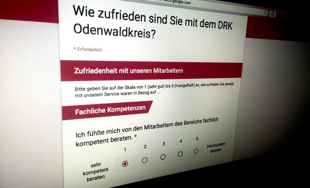Screenshot der Zufriedenheitsumfrage