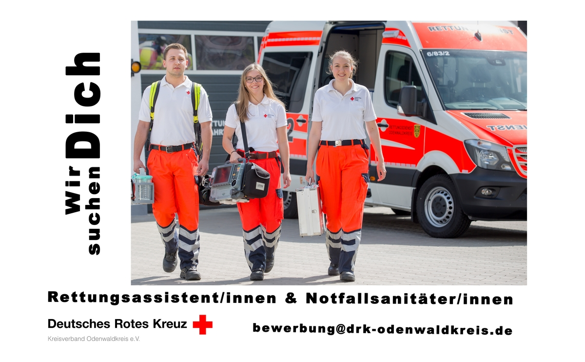 Stellenangebot vom 20.07.2017 | DRK Kreisverband Odenwaldkreis e.V. | {Rettungssanitäter drk 98}